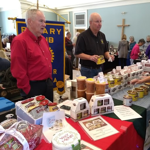 Lou Markwith and Doug Payronnet selling Brundswick stew and peanuts