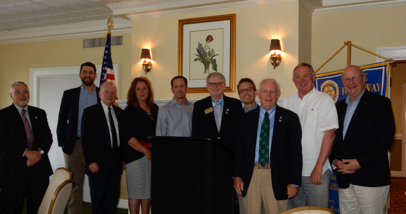New officers and directors are (left to right) Rob Westermann, Ross Sumner, Mickey Dowdy, Cheryl Toler, Jeff Raihall, District 7600 Governor Wayne Boggs Chris Gorman, John Hilliard, Lee Harris and Doug Peyronnet.